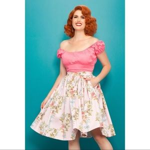 Rare PUG Pink floral Pinup Couture Jenny skirt, M